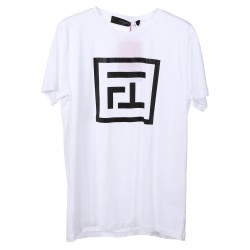 WHITE T SHIRT WITH BLACK PRINTED