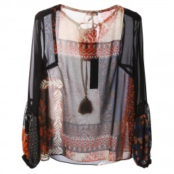 BLACK FANTASY BLOUSE WITH TASSELS