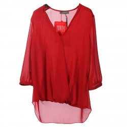 RED BLOUSE WITH V NECK