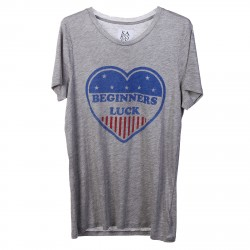 GREY T SHIRT WITH HEART PRINTED
