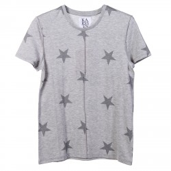 GREY T SHIRT WITH STARS PRINTED