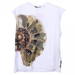 WHITE T SHIRT WITH SHELL PRINTED