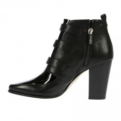 BLACK HUNKLE BOOT WITH BUCKLES