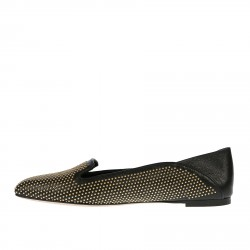 BLACK LEATHER MOCASSIN WITH STUDS