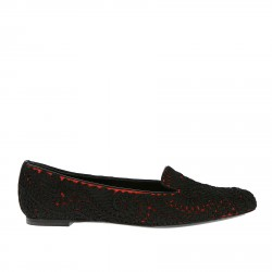 RED MOCASSIN WITH BLACK NEEDLEWORK