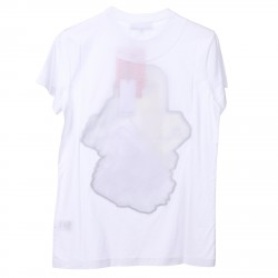 WHITE T SHIRT WITH STONES FRONT PRINT