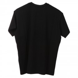 BLACK T SHIRT WITH FLOWERS FRONT PRINTED
