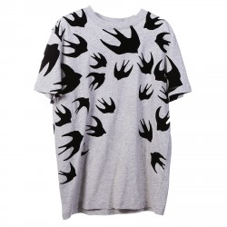 GREY T SHIRT WITH BIRDS PRINTED