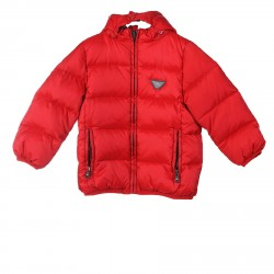 RED PADDED JACKET WITH HOOD