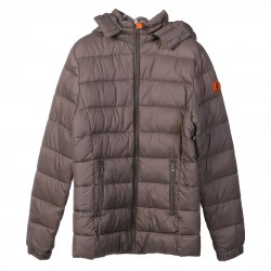 GRAY PADDED JACKET WITH HOOD