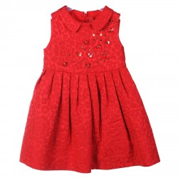 RED SLEEVLESS DRESS WITH FANTASY FLOWERS