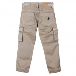 BEIGE PANTS WITH FLAG ON POCKET