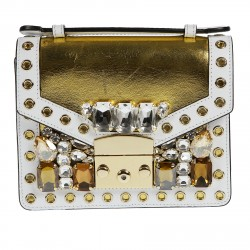 GOLD AND WHITE BAG WITH STONES