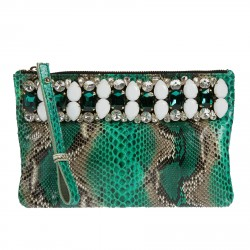 ANIMALIER GREEN CLUTCH BAG WITH STONES