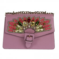 VIOLET HANDBAG WITH STONES AND BEADS
