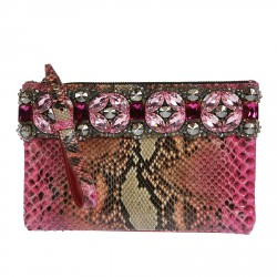 PINK ANIMALIER CLUTCH BAG WITH STONES