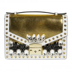 GOLD BAG WITH WHITE AND BLACK STONES