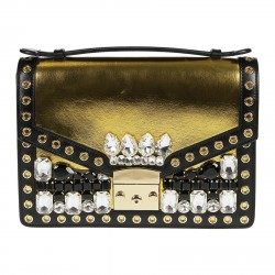 GOLD AND BLACK BAG WITH WHITE AND BLACK STONES