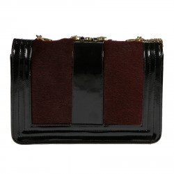BLACK AND BORDEAUX BAG WITH WHITE AND BLACK STONES