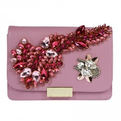 LILAC BAG WITH COLORED STONES