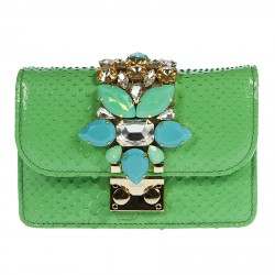 GREEN BAG WITH LIGHT BLUE STONES