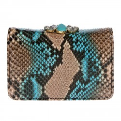 BEIGE AND LIGHT BLUE ANIMALIER BAG WITH STONES