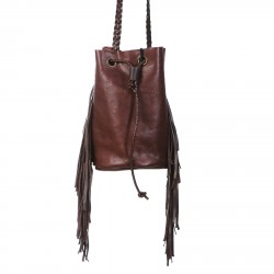 BROWN BUCKET BAG WITH FRINGES