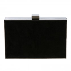 BLACK CLUTCH BAG WITH STONES APPLICATIONS