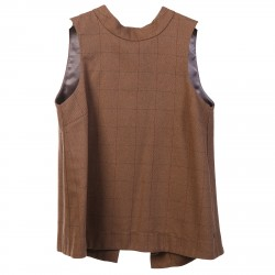 CHECKED SLEEVELESS BLOUSE