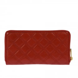 RED MATELASSE LEATHER WALLET