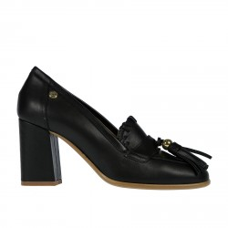 BLACK LEATHER LOAFER WITH HEEL