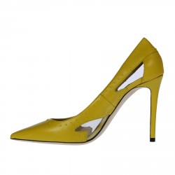 YELLOW LEATHER DECOLLETE
