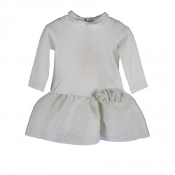 WHITE AND SILVER DRESS WITH LUREX