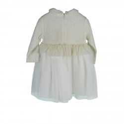 WHITE TULLE AND WOOL DRESS