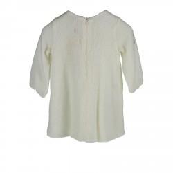 WHITE DRESS WITH ECOFUR BOW