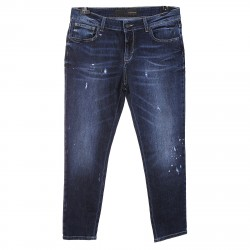 BLUE WASHED PANTS WITH WORN EFFECT MEY MODEL