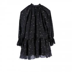 BLACK SILK DRESS WITH PINK STARS