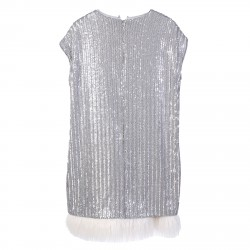 SILVERS SEQUINS DRESS WITH ECOFURINSERT