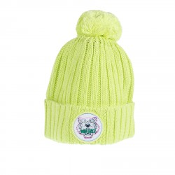 FLUORESCENT GREEN BONNET WITH PON PON