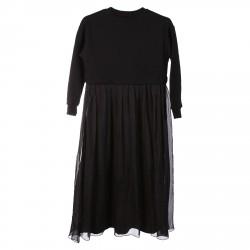 BLACK SILK AND COTTON DRESS