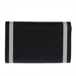 BLACK AND WHITE LEATHER WALLET WITH LOGO
