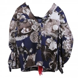 BLUE AND GREY FLORAL FANTASY BLOUSE