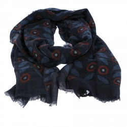 BLUE AND BORDEAUX FANTASY WOOL SCARF
