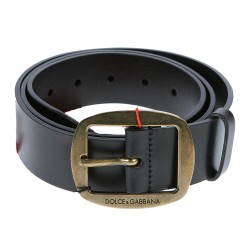 BLACK LEATHER BELT WITH APPLICATIONS