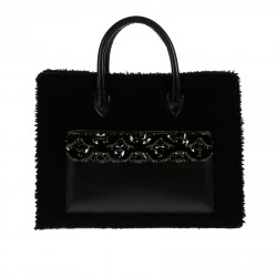 BLACK BAG WITH STONES APPLICATION