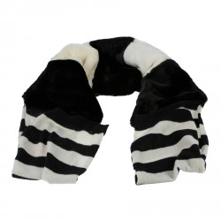 BLACK AND WHITE STRIPED WOOL AND ECO FUR SCARF