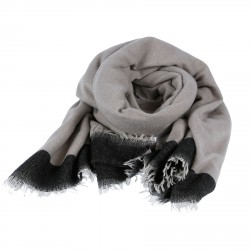 GREY AND BLACK SILK AND CASHMERE SCARF