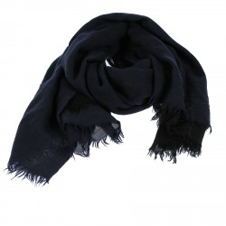 BLUE AND BLACK CASHMERE AND SILK SCARF