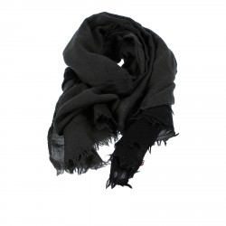 GREY AND BLACK CASHMERE AND SILK SCARF