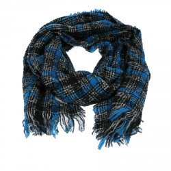 BLUE BLACK AND WHITE FANTASY WOOL SCARF